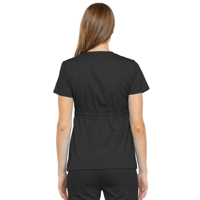 Cherokee Luxe 21701 Scrubs Top Women's Empire Waist Mock Wrap Black