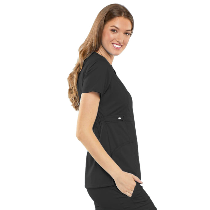 Cherokee Luxe 21701 Scrubs Top Women's Empire Waist Mock Wrap Black L