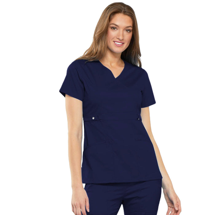 Cherokee Luxe 21701 Scrubs Top Women's Empire Waist Mock Wrap Navy