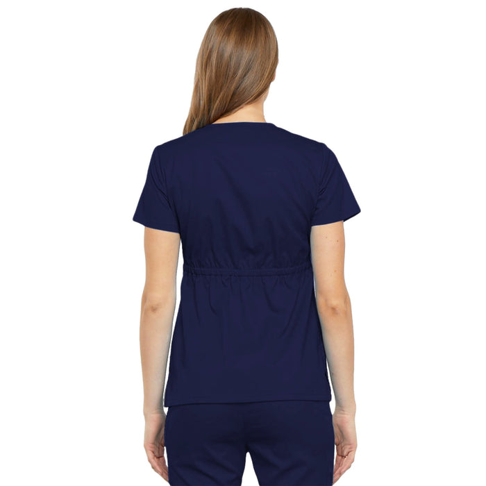 Cherokee Luxe 21701 Scrubs Top Women's Empire Waist Mock Wrap Navy 3XL