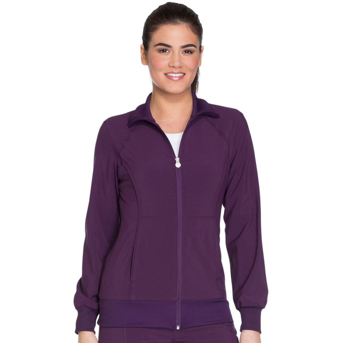 Cherokee Infinity 2391A Scrubs Jacket Women's Zip Front Warm-Up Eggplant