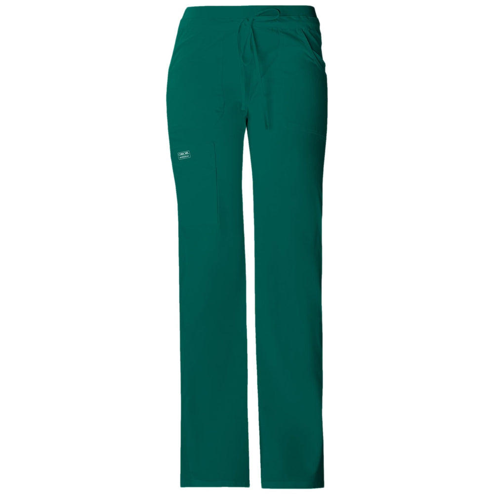 Cherokee Workwear Core Stretch 24001 Scrubs Pants Women's Low Rise Drawstring Cargo Hunter Green