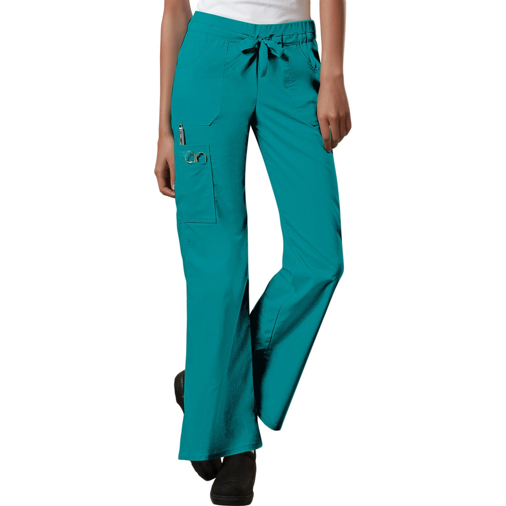 Cherokee Workwear Core Stretch 24001 Scrubs Pants Women's Low Rise Drawstring Cargo Teal Blue