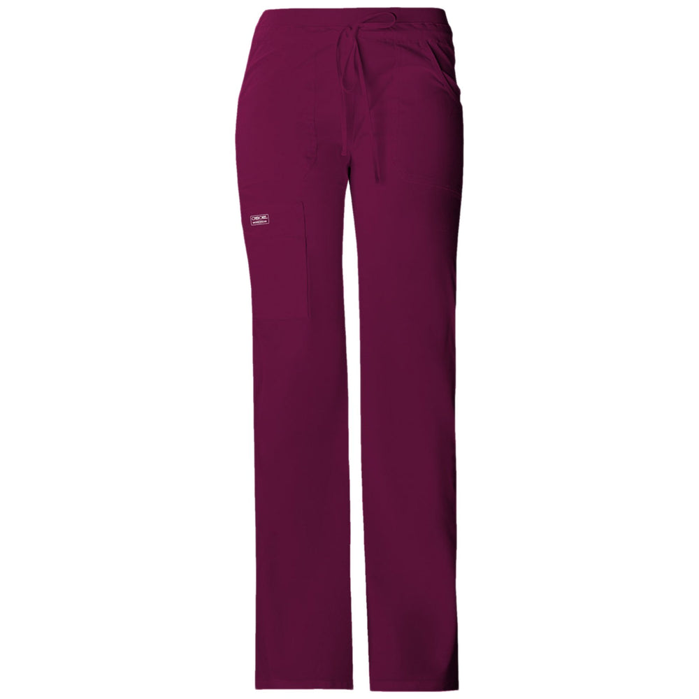 Cherokee Workwear Core Stretch 24001 Scrubs Pants Women's Low Rise Drawstring Cargo Wine