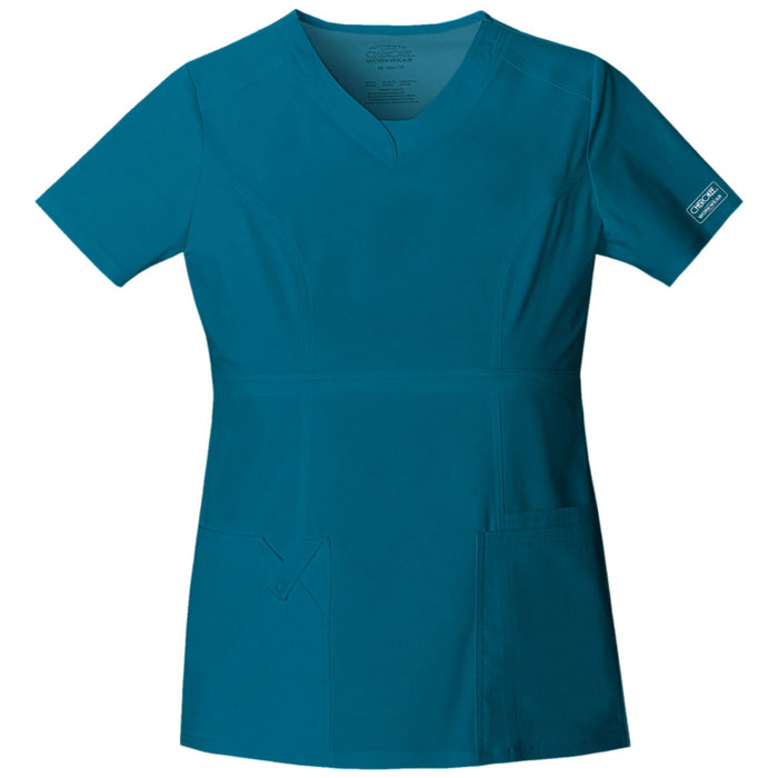 Cherokee Workwear Core Stretch 24703 Scrubs Top Women's V-Neck Caribbean Blue