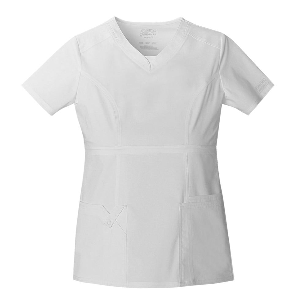 Cherokee Workwear Core Stretch 24703 Scrubs Top Women's V-Neck White