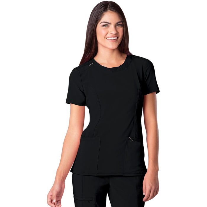 Cherokee Infinity 2624A Scrubs Top Women's Round Neck Black