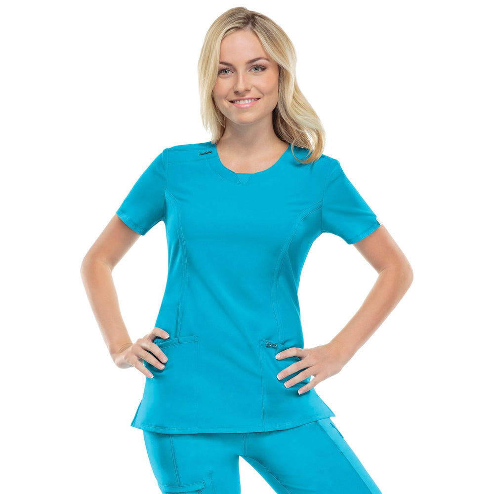 Cherokee Infinity 2624A Scrubs Top Women's Round Neck Turquoise