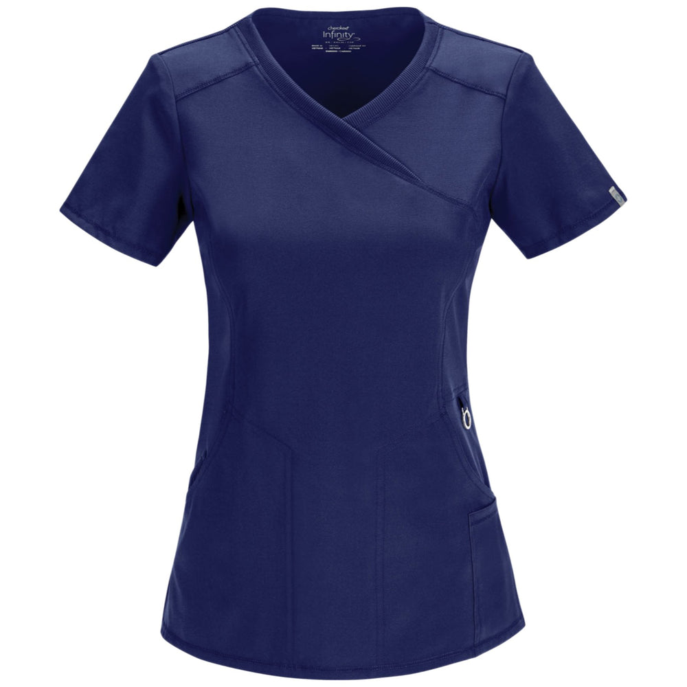 Cherokee Infinity 2625A Scrubs Top Women's Mock Wrap Navy