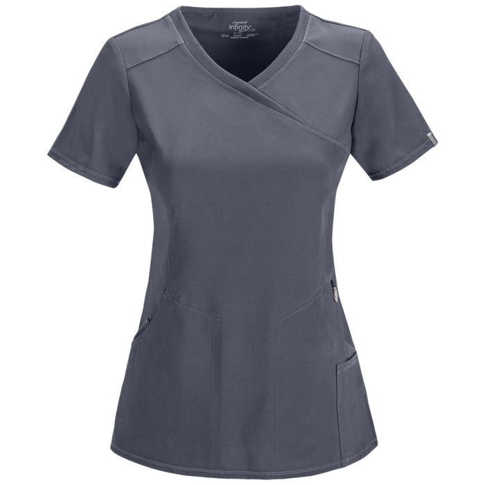 Cherokee Infinity 2625A Scrubs Top Women's Mock Wrap Pewter