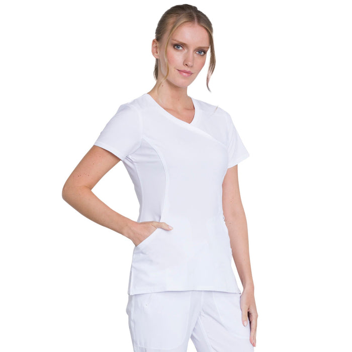 Cherokee Infinity 2625A Scrubs Top Women's Mock Wrap White 5XL