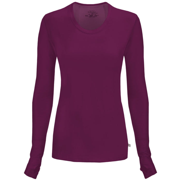 Cherokee Infinity 2626A Underscrubs Women's Long Sleeve Knit Tee Wine