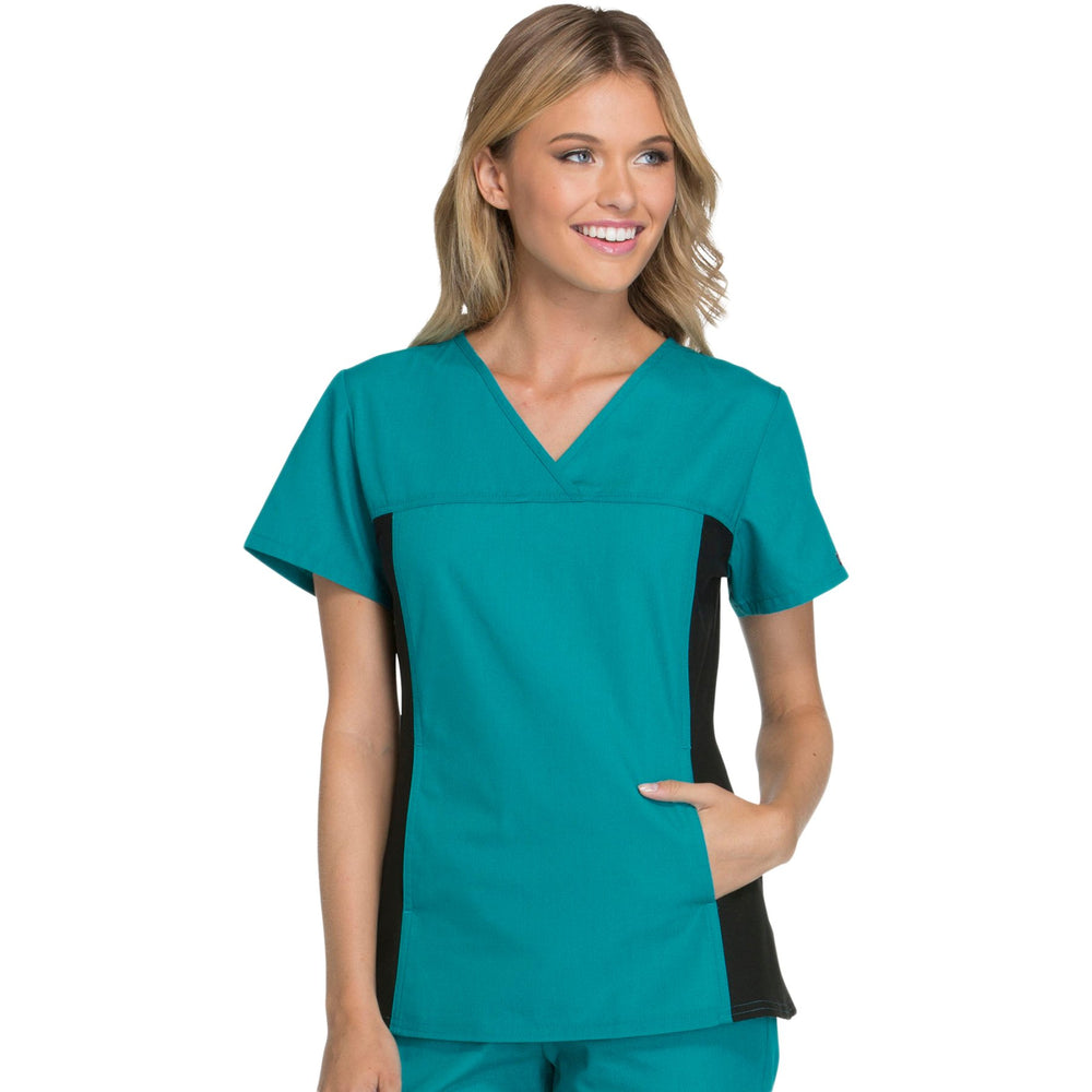 Cherokee Flexibles 2874 Scrubs Top Women's V-Neck Knit Panel Teal Blue
