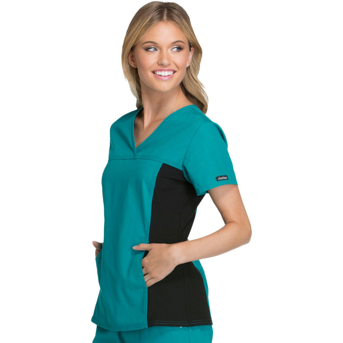 Cherokee Flexibles 2874 Scrubs Top Women's V-Neck Knit Panel Teal Blue 4XL