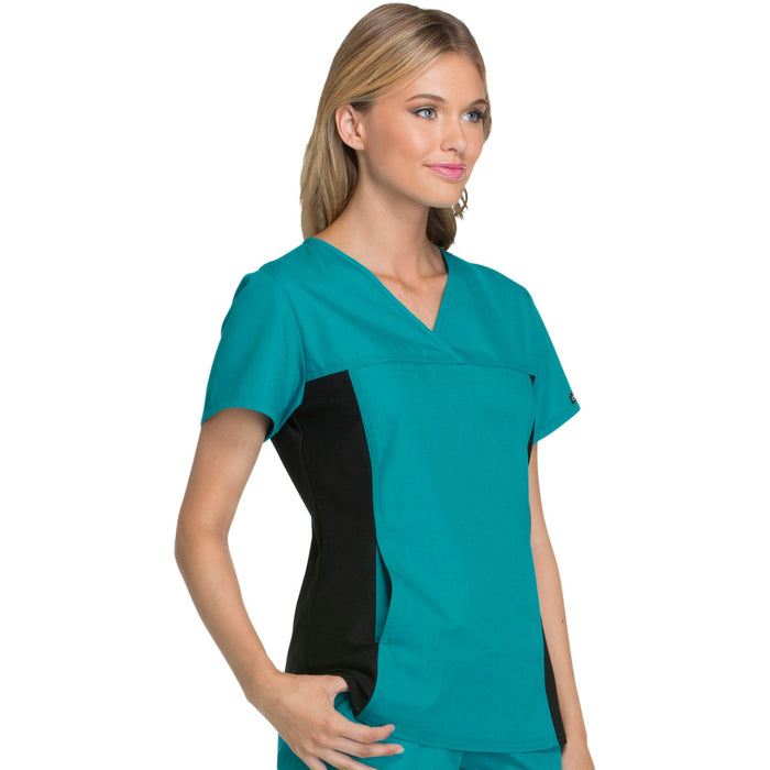Cherokee Flexibles 2874 Scrubs Top Women's V-Neck Knit Panel Teal Blue 5XL