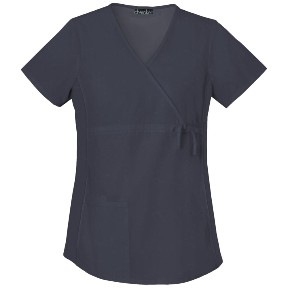 Cherokee Flexibles 2892 Scrubs Top Maternity Mock Wrap Knit Panel Pewter