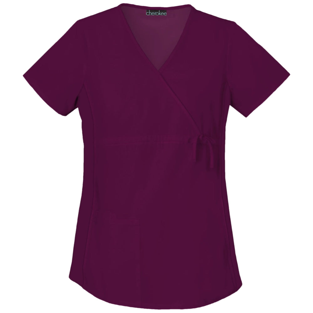 Cherokee Flexibles 2892 Scrubs Top Maternity Mock Wrap Knit Panel Wine