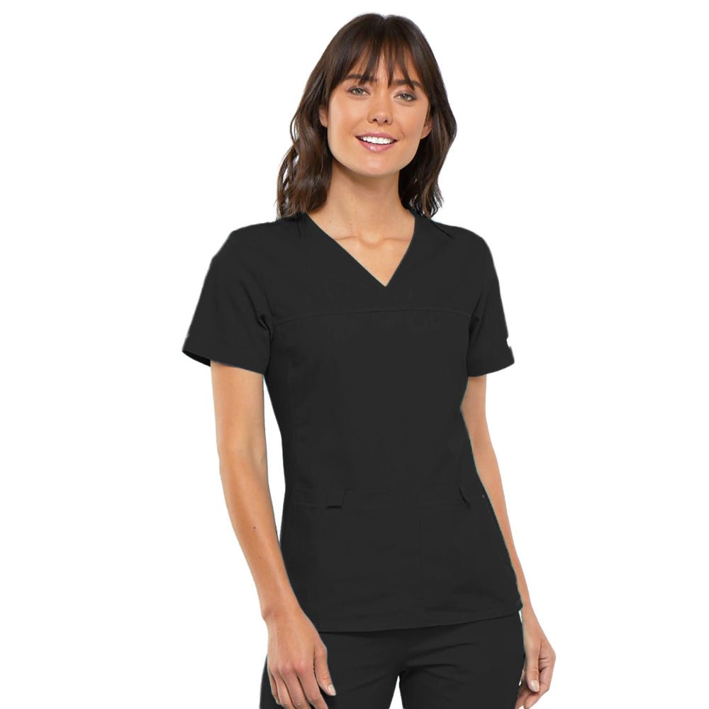 Cherokee Flexibles 2968 Scrubs Top Women's V-Neck Knit Panel Black