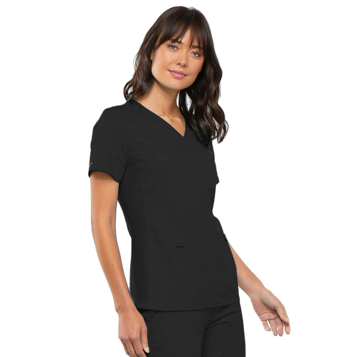 Cherokee Flexibles 2968 Scrubs Top Women's V-Neck Knit Panel Black 5XL