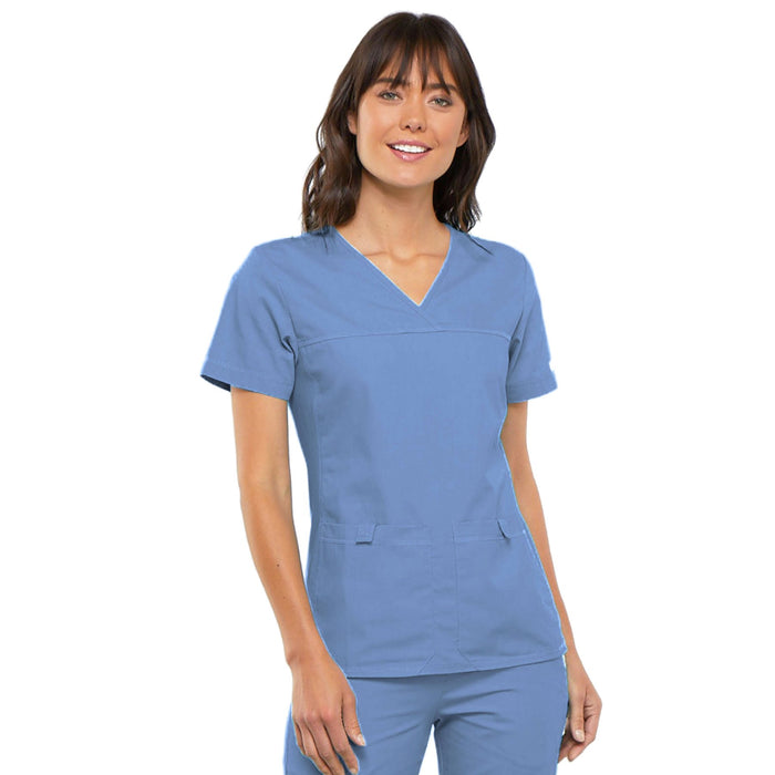Cherokee Flexibles 2968 Scrubs Top Women's V-Neck Knit Panel Ciel Blue