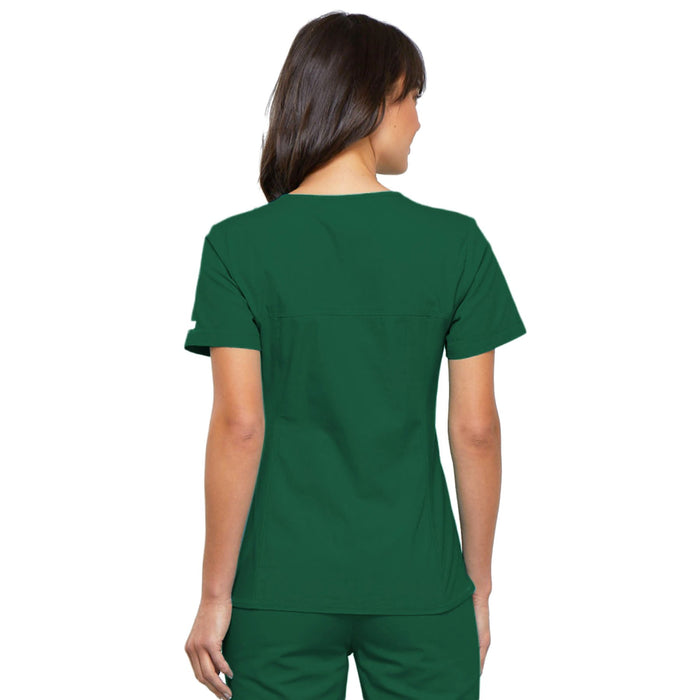 Cherokee Flexibles 2968 Scrubs Top Women's V-Neck Knit Panel Hunter Green 3XL