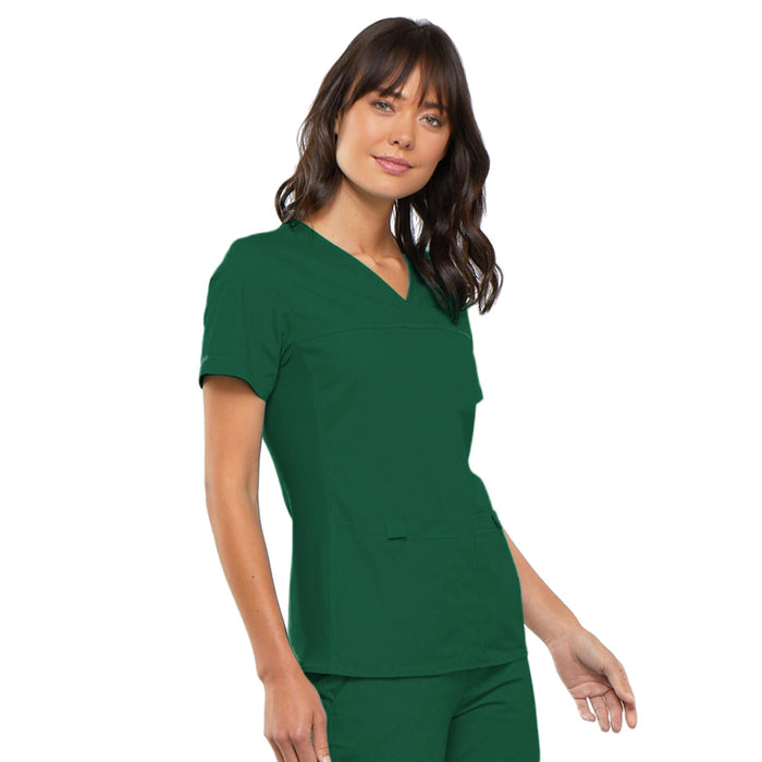 Cherokee Flexibles 2968 Scrubs Top Women's V-Neck Knit Panel Hunter Green 5XL