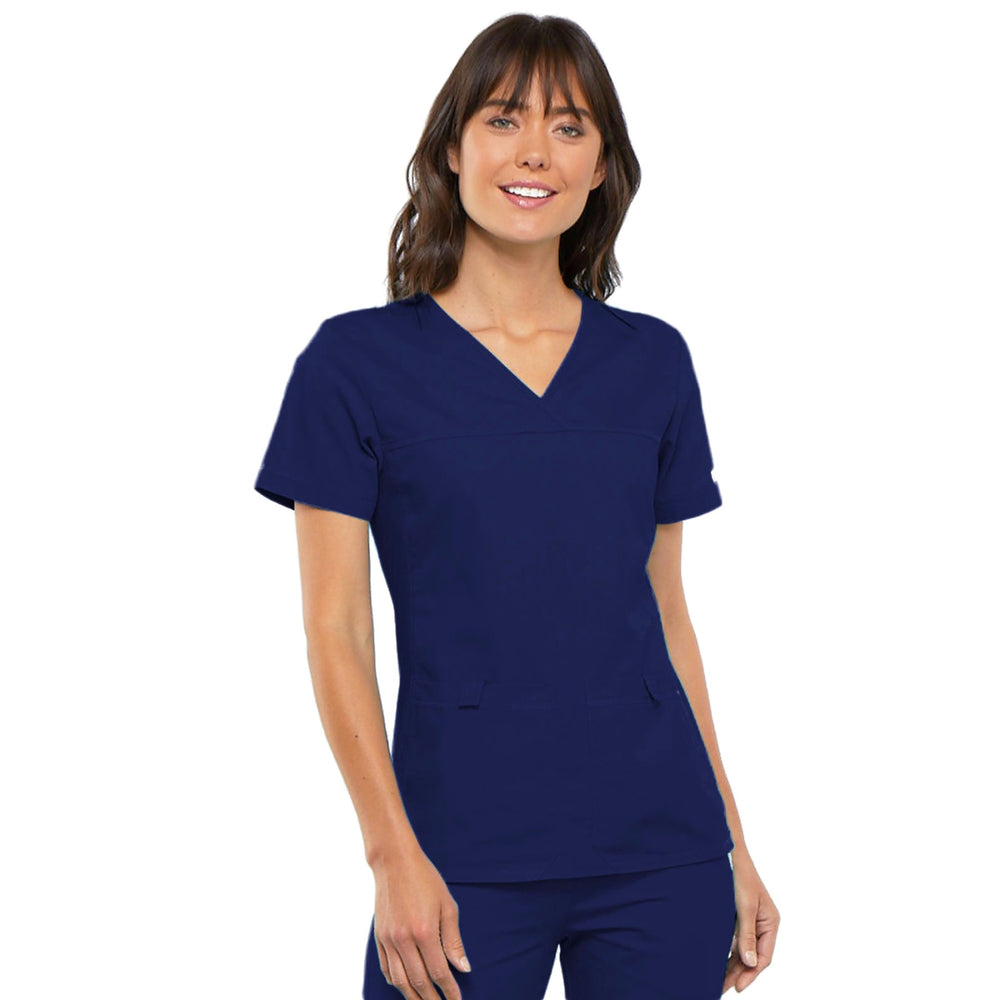 Cherokee Flexibles 2968 Scrubs Top Women's V-Neck Knit Panel Navy