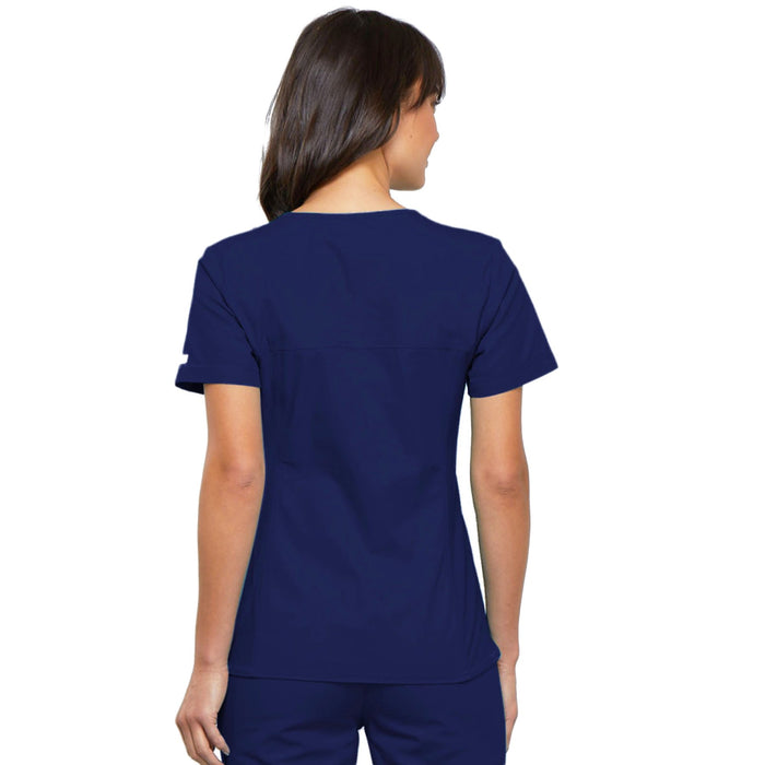 Cherokee Flexibles 2968 Scrubs Top Women's V-Neck Knit Panel Navy 3XL
