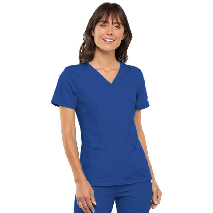 Cherokee Flexibles 2968 Scrubs Top Women's V-Neck Knit Panel Royal