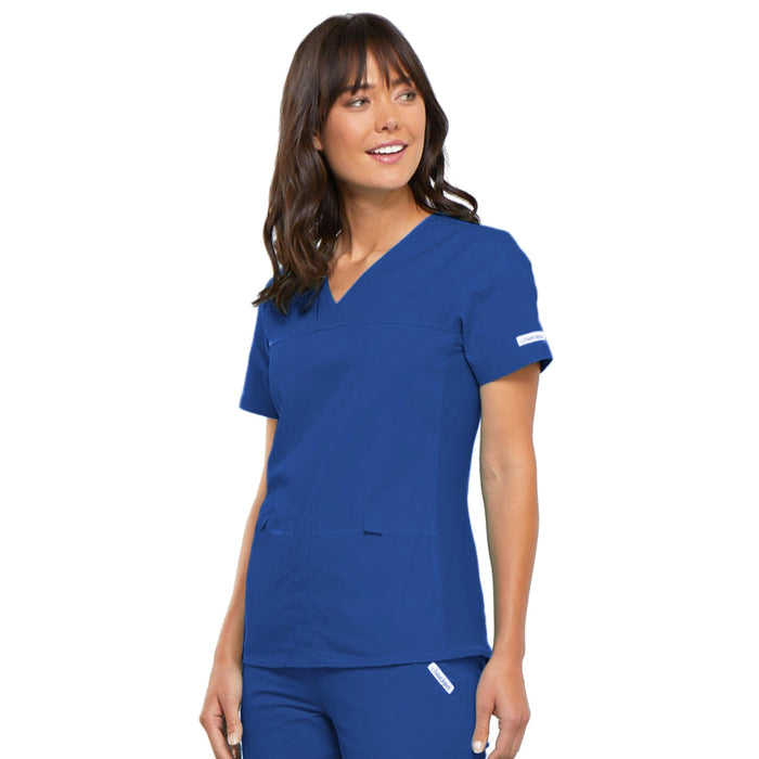 Cherokee Flexibles 2968 Scrubs Top Women's V-Neck Knit Panel Royal 4XL