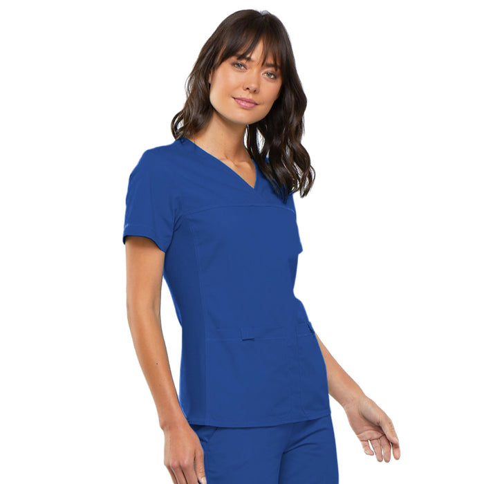 Cherokee Flexibles 2968 Scrubs Top Women's V-Neck Knit Panel Royal 5XL