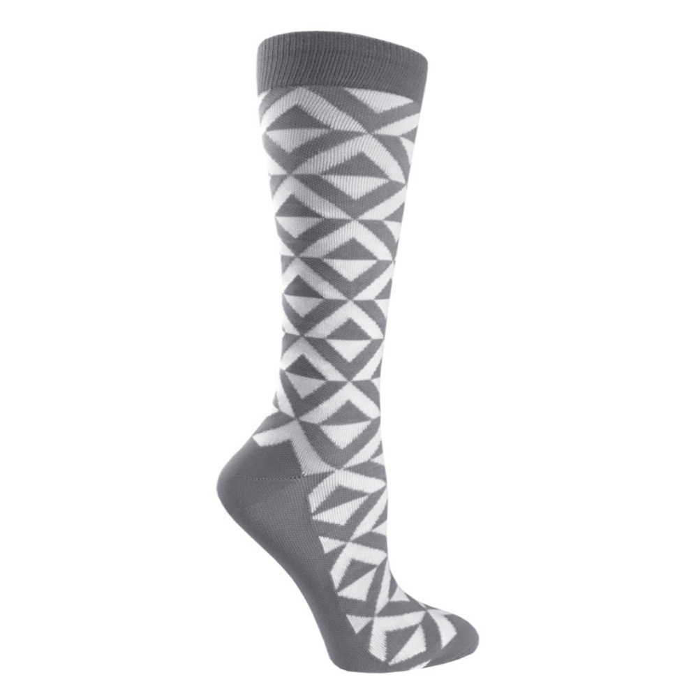 "Prestige 12"" premium compression socks Diamonds Grey & White"