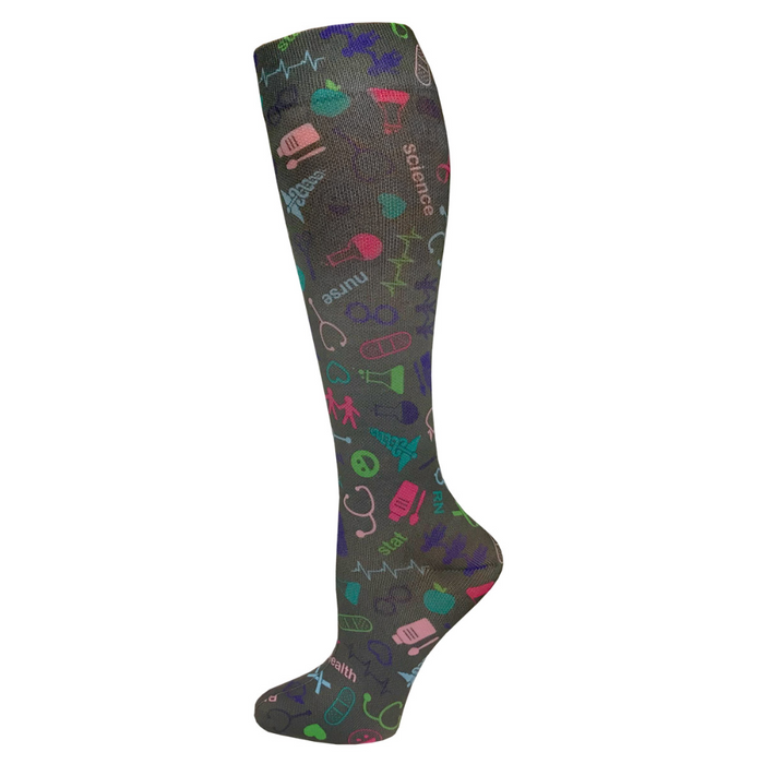 "Prestige 12"" soft comfort compression socks Medical Symbols Pewter"
