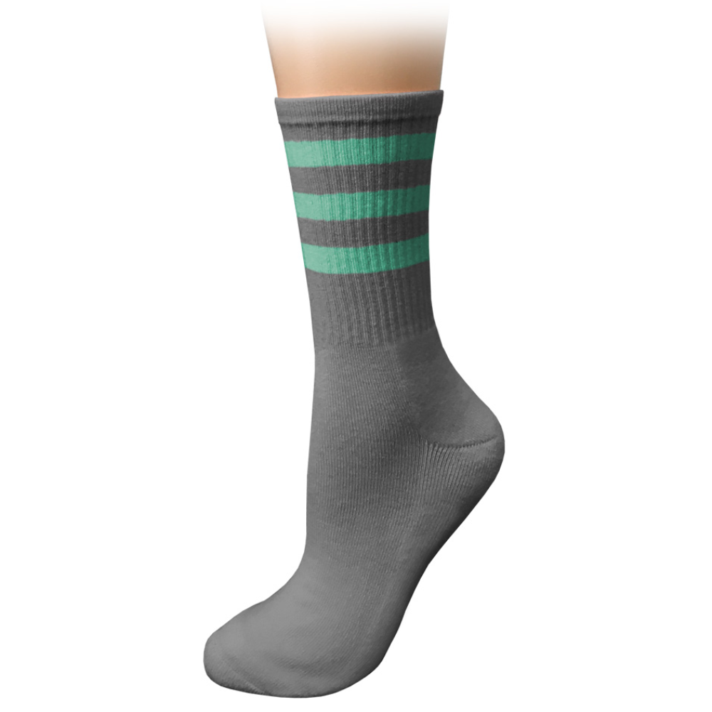 Prestige cushioned crew socks Pewter with Mint Stripes