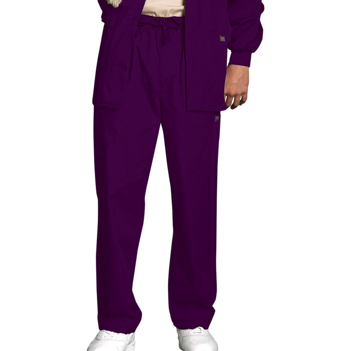 Cherokee Workwear 4000 Scrubs Pants Men's Drawstring Cargo Eggplant
