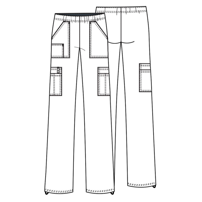 Cherokee Workwear Core Stretch 4005 Scrubs Pants Women's Mid Rise Pull-On Cargo Pewter 3XL
