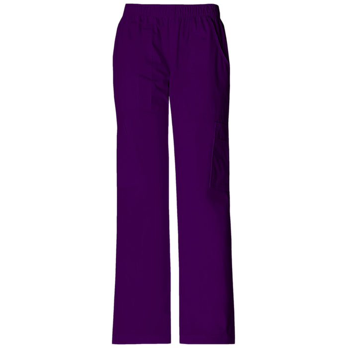 Cherokee Workwear Core Stretch 4005 Scrubs Pants Women's Mid Rise Pull-On Cargo Eggplant