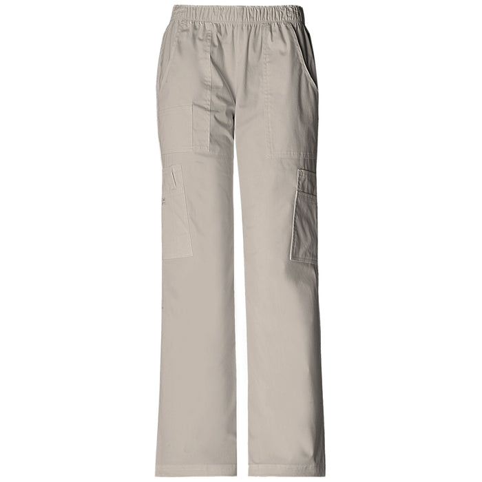 Cherokee Workwear Core Stretch 4005 Scrubs Pants Women's Mid Rise Pull-On Cargo Khaki