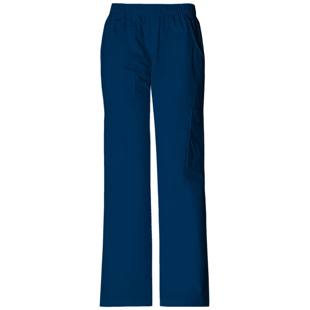 Cherokee Workwear Core Stretch 4005 Scrubs Pants Women's Mid Rise Pull-On Cargo Navy