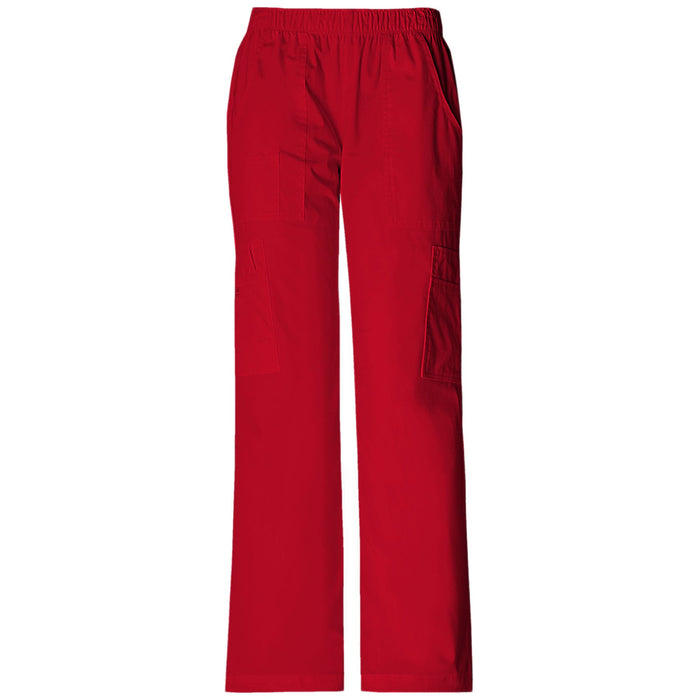 Cherokee Workwear Core Stretch 4005 Scrubs Pants Women's Mid Rise Pull-On Cargo Red