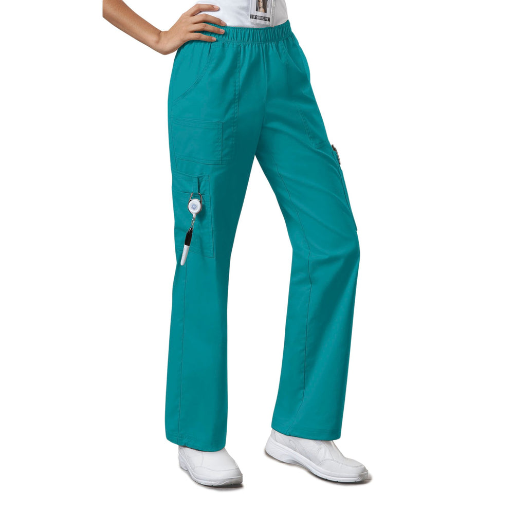 Cherokee Workwear Core Stretch 4005 Scrubs Pants Women's Mid Rise Pull-On Cargo Teal Blue