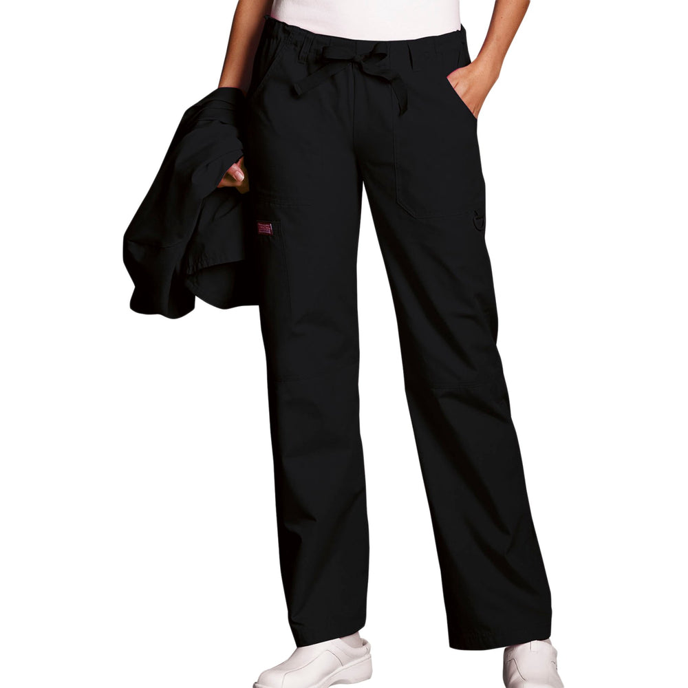 Cherokee Workwear 4020 Scrubs Pants Women's Low Rise Drawstring Cargo Black