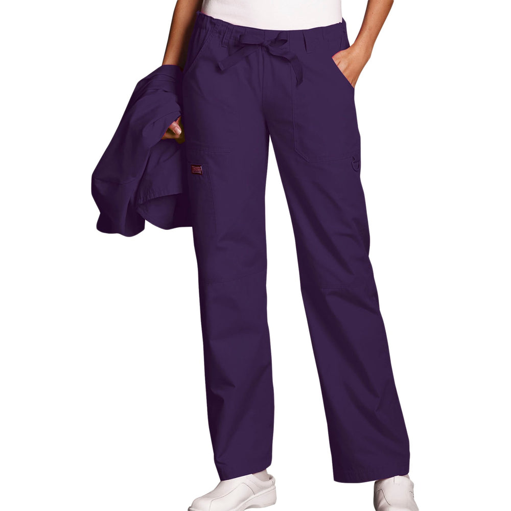 Cherokee Workwear 4020 Scrubs Pants Women's Low Rise Drawstring Cargo Eggplant