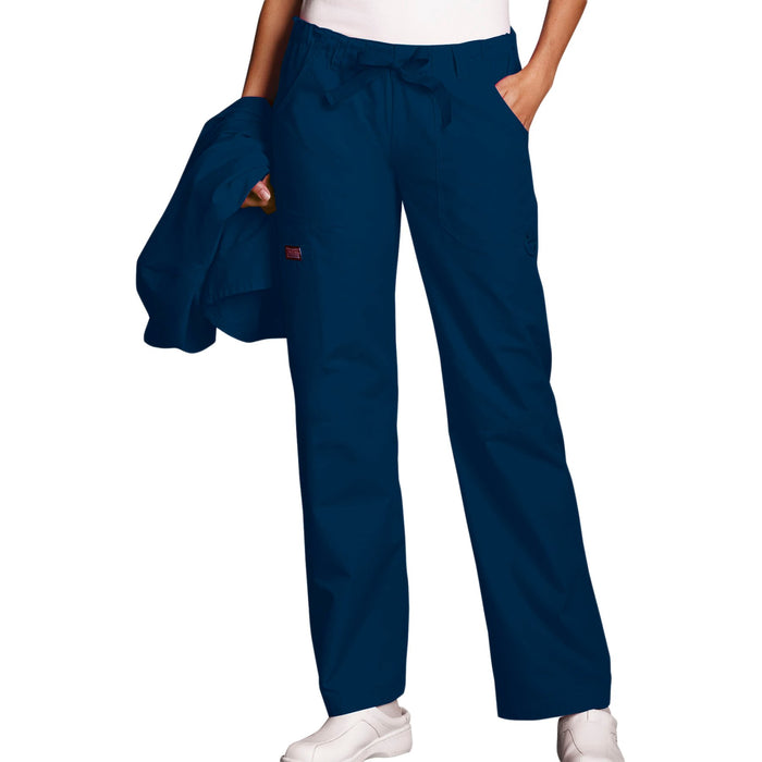 Cherokee Workwear 4020 Scrubs Pants Women's Low Rise Drawstring Cargo Navy