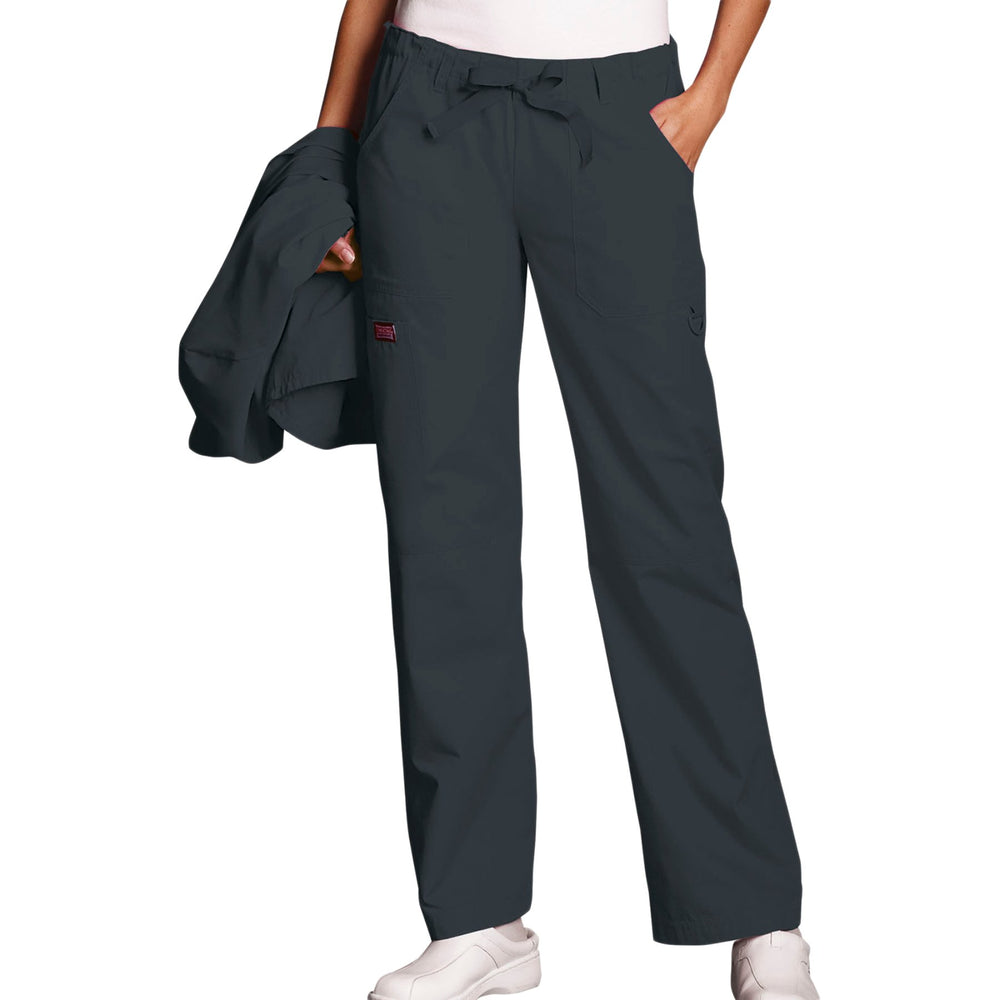 Cherokee Workwear 4020 Scrubs Pants Women's Low Rise Drawstring Cargo Pewter