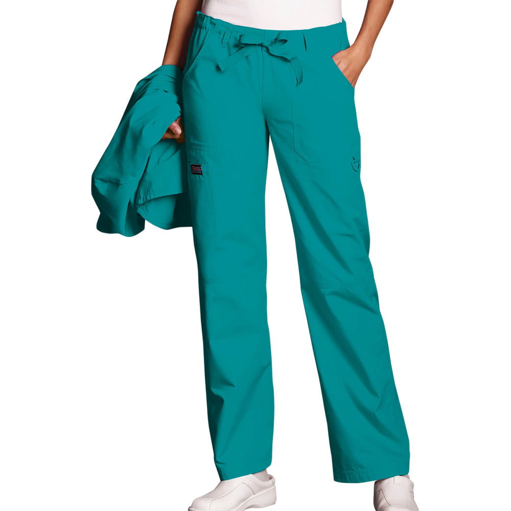 Cherokee Workwear 4020 Scrubs Pants Women's Low Rise Drawstring Cargo Teal Blue