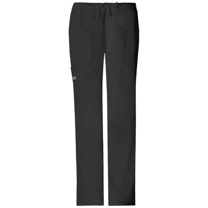 Cherokee Workwear Core Stretch 4044 Scrubs Pants Women's Mid Rise Drawstring Cargo Black