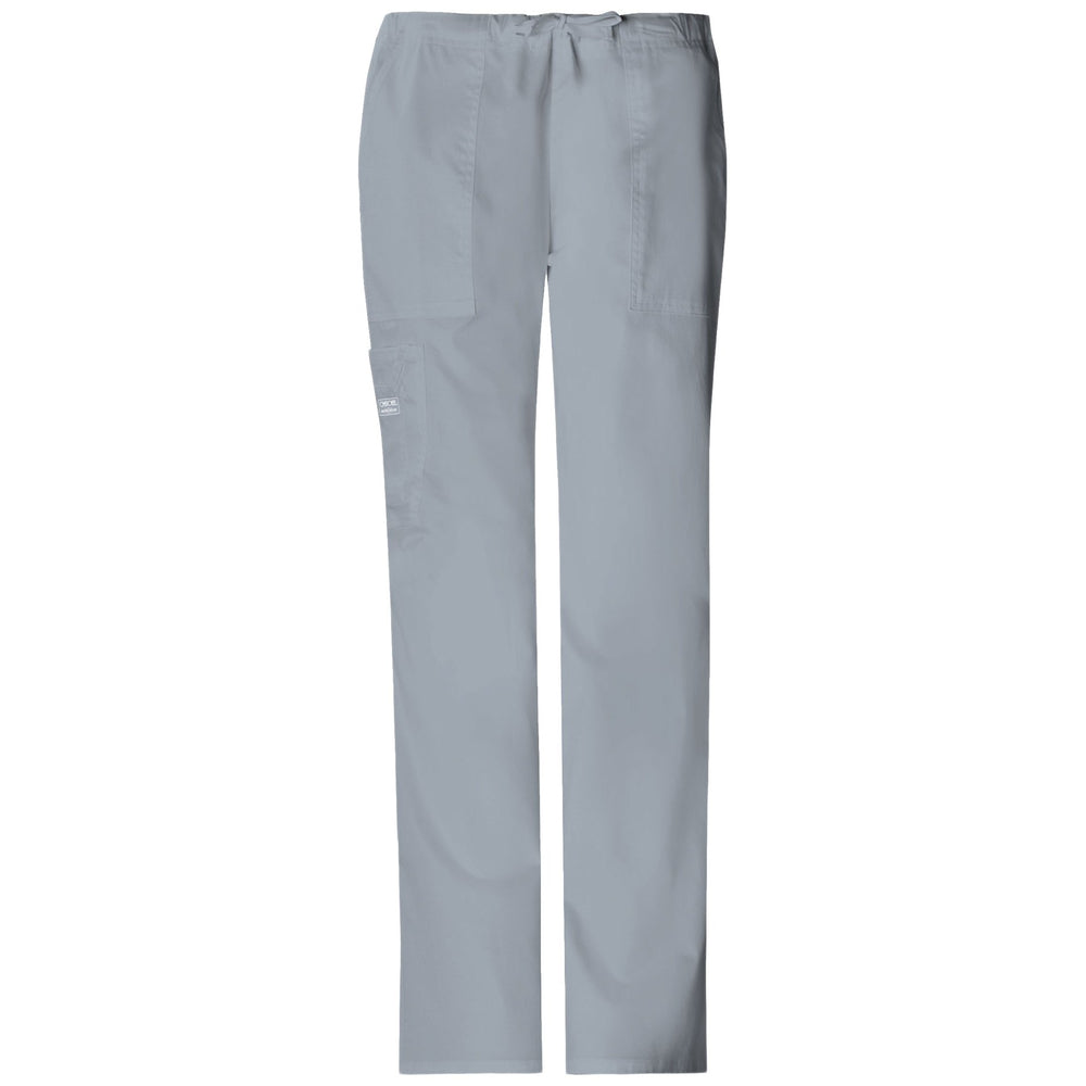 Cherokee Workwear Core Stretch 4044 Scrubs Pants Women's Mid Rise Drawstring Cargo Grey