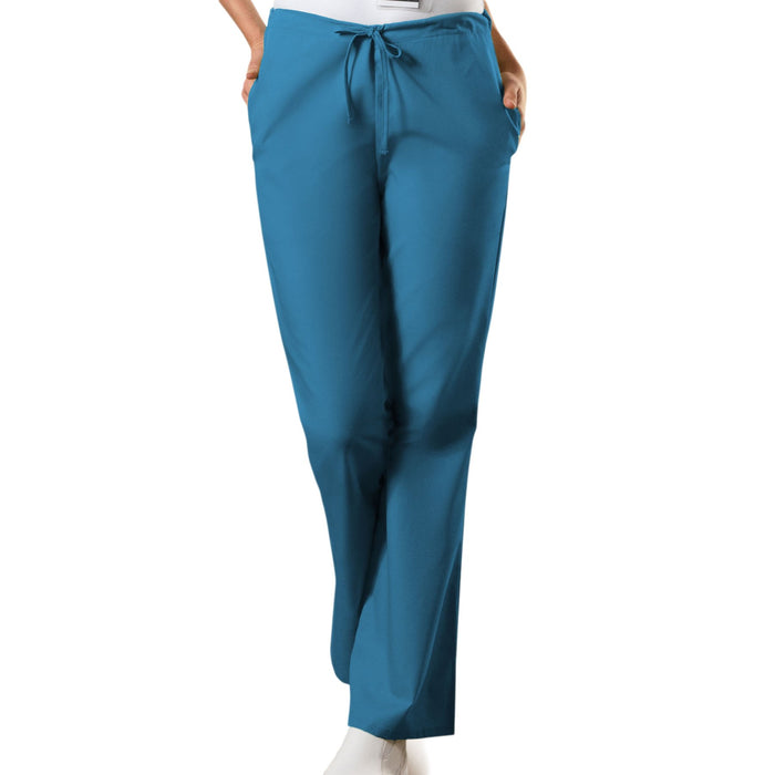 Cherokee Workwear 4101 Scrubs Pants Women's Natural Rise Flare Leg Drawstring Caribbean Blue