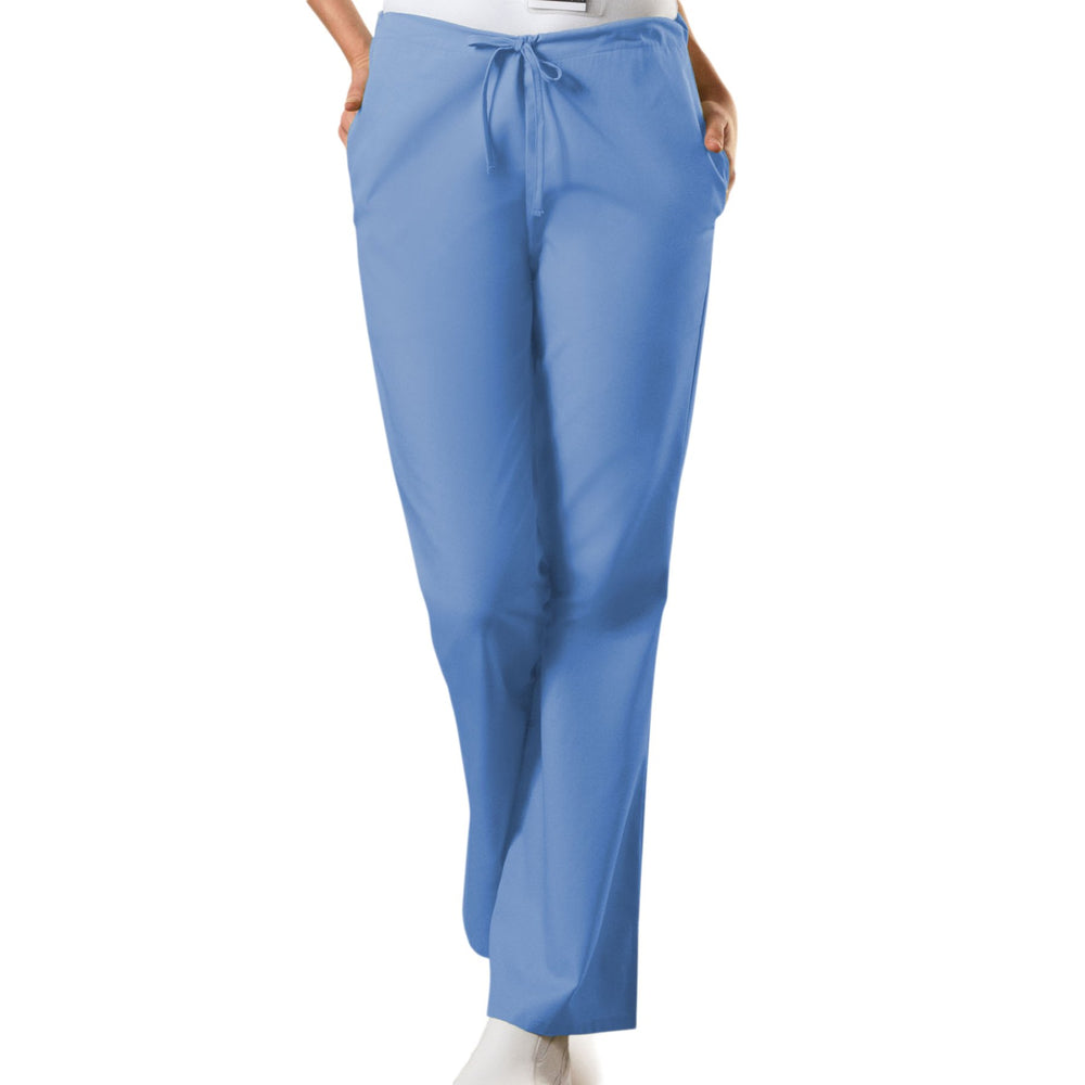 Cherokee Workwear 4101 Scrubs Pants Women's Natural Rise Flare Leg Drawstring Ciel Blue